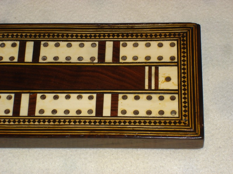 Large Victorian Rosewood Cribbage Board