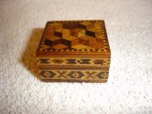 Tumbling Block Tunbridge Ware Stamp Box  - TBT85