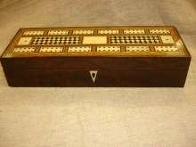Rosewood Cribbage Box Chequered Design - RCB150