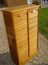 Oak Double Tambour Filing Cabinet - ODT975