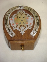 Horseshoe Oak Cribbage Box By D&A - HOC240