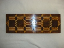 Large Victorian Parquetry Cribbage Board