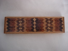 Parquetry Herringboned Heavy Cribbage Board
