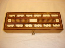 Victorian Cribbage Box With Chequer Inlay - VCB175