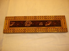Tunbridge Ware Cribbage Board With Flowers - TCW120