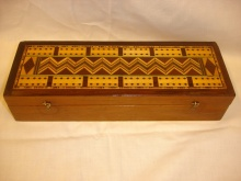 Herringbone Inlaid Cribbage Box