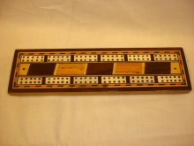 Good Quality Angled Red Inlaid Cribbage Board - GQA70