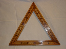 Large Vintage Triangular Triple Lane Cribbage Board  - LVT75