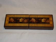 Victorian Tunbridgeware Folding Travel Cribbage Box