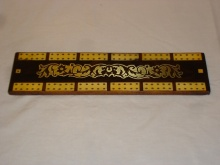 Large Regency Rosewood Ivory Brass Cribbage Board - LRR185
