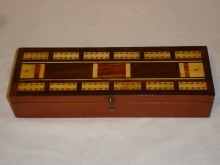 Edwardian Inlaid Cribbage Box Retailed By 'Kenneths' - ECB120
