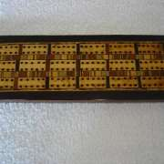 Triple Laned Geometric Inlaid Cribbage Board - ticb45