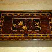 Tunbridge ware box with cross and flowers - twc175
